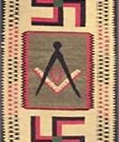 The Masonic symbol between swastikas