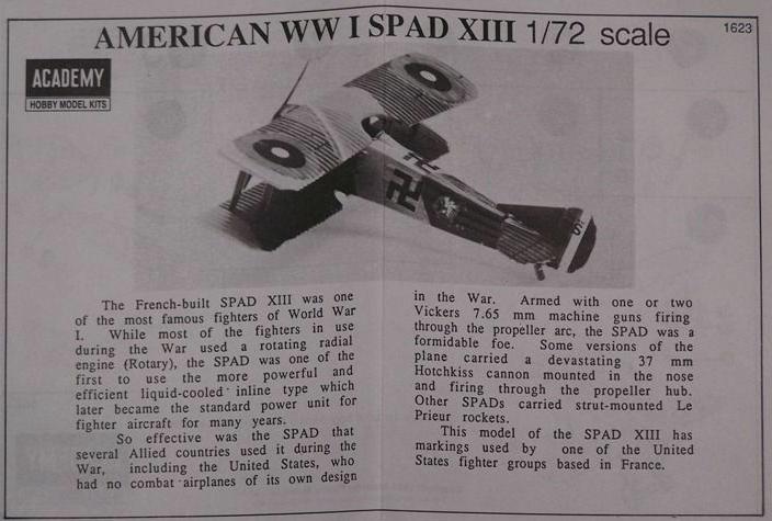 Spad fighter XIII WWI American Swastika