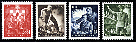 Nazi salute Ante Pavelic Croatian State Labor Service 1943 stamps
