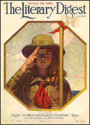 Girl Scouts Cub Scouts Red Flag & Red Scarf Scouting 1921