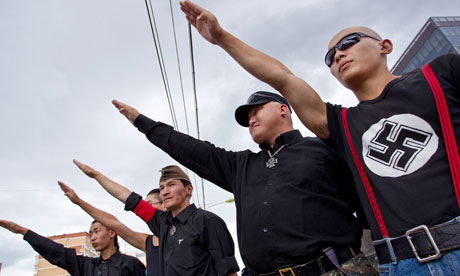 Nazi salute mongolia neo-nazis use America's salute from early Pledge of Allegiance