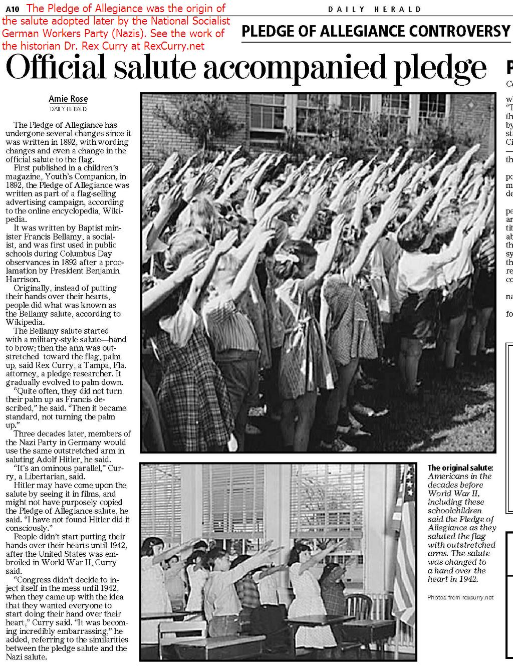 Pledge of Allegiance controversy, official salute, USA, Third Reich National Socialist German Workers Party, American salute, Bellamy salute,