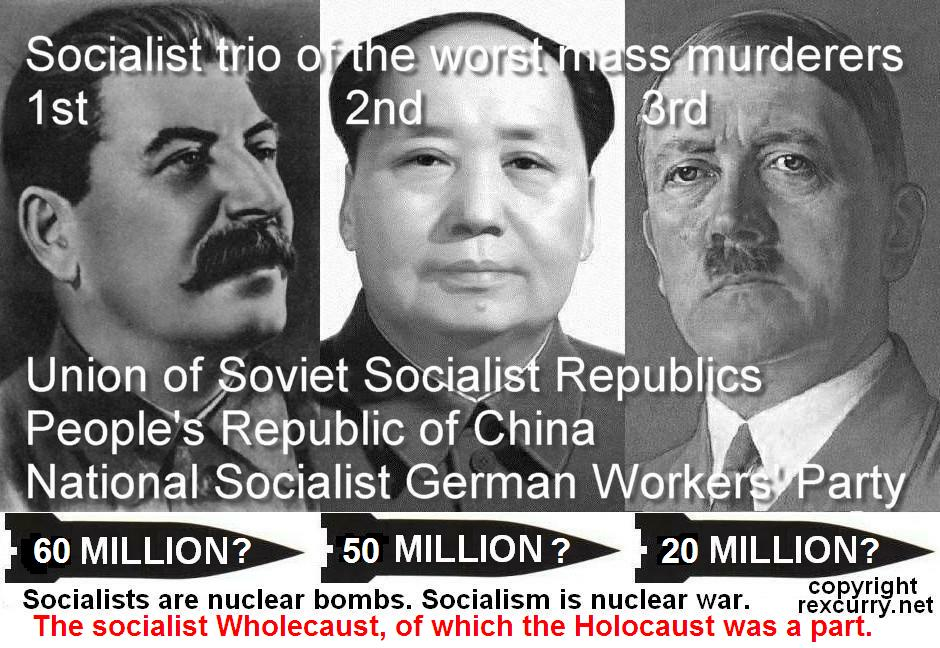 SOCIALISTS, SOCIALIST stalin mao hitler socialists genocide holocaust wholecaust trio of the worst atrocities