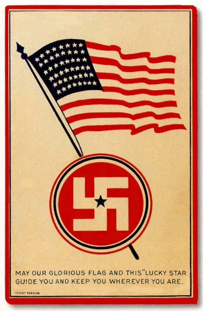 American flag with swastika