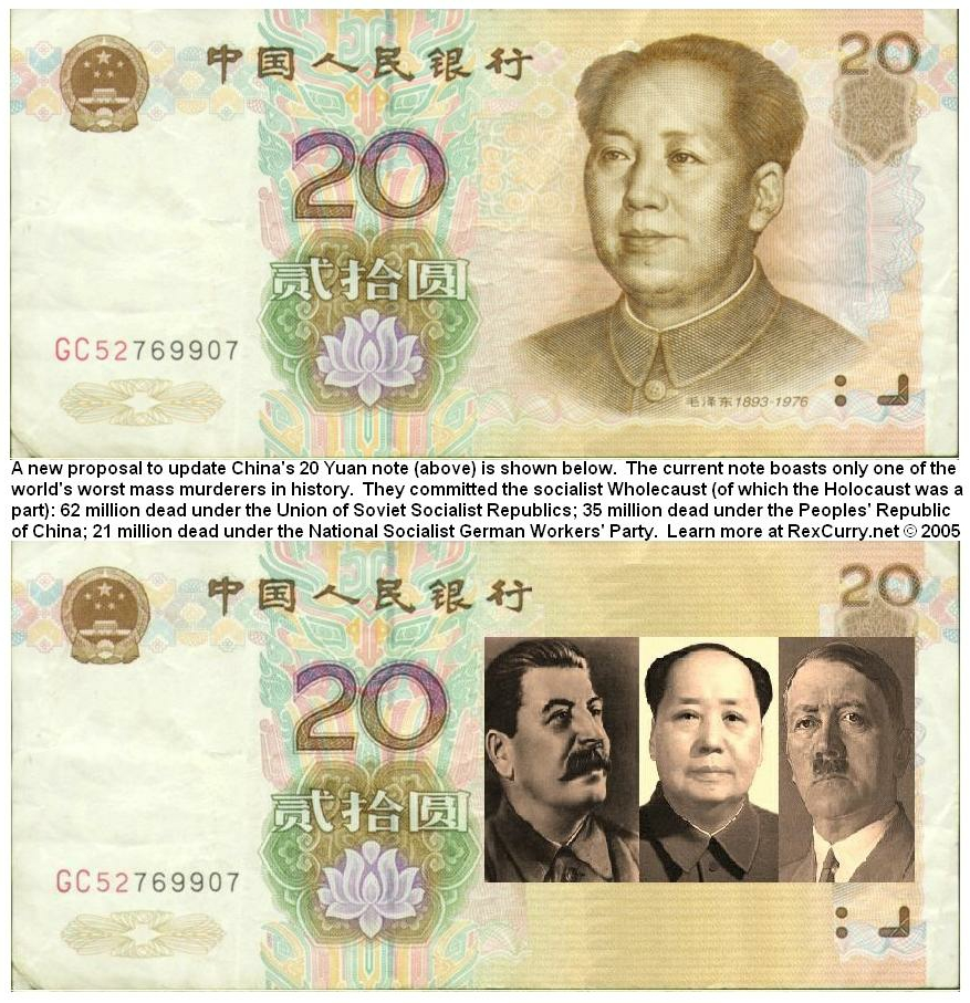 Chinese Yuan 20 Mao Zedong, Joseph Stalin, Adolf Hitler, updated for socialism